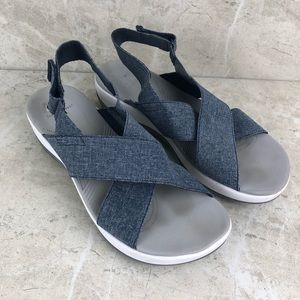 Clarks cloudsteppers blue wedge sandal 9